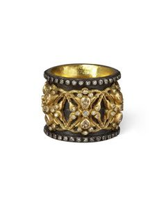 Armenta 18k Gold & Midnight Diamond Crown Ring 80fRoFL