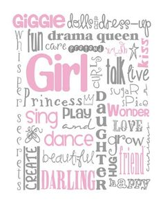 All Girl Subway Art for Nursery or Bedroom Print by MyPoshDesigns, $18.00
