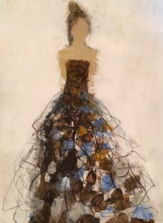 """Holly Irwin Fine Art. """"New Again"""" 14x11"""" Mixed media on paper. Woman in a brown gown with white and blue accents. Small abstract portrait."""