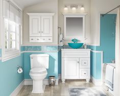 Whether it's renovations or just a touch of paint, it's time for a change in the bathroom and deco is important. Accessories, objects, small furniture, discover in eight ideas as it is simple for her to get a makeover! Coastal Bathrooms, Beach Bathrooms, Small Bathrooms, Casa Retro, Glass Vessel Sinks, Bathroom Colors, Turquoise Bathroom Decor, Gold Bathroom, Bathroom Interior Design