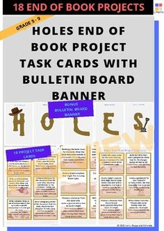 Holes End of book project task cards by Literix Holes Book, Louis Sachar, Book Projects, Task Cards, Classroom Decor, Lesson Plans, Planners, Worksheets, Novels