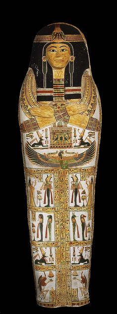 Coffin set of Henettawy from Deir el-Bahri, western Thebes. Gessoed and painted wood. Egyptian Third Intermediate Period, Dynasty reign of Psusennes I, BC Egyptian Beauty, Ancient Egyptian Art, Ancient History, Art History, Egyptian Temple, Ancient Aliens, Moritz Von Schwind, Cleopatra, Egypt Mummy