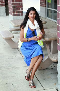 Summer style - eShakti dress, gladiator sandals, and scarf