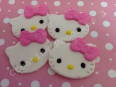 FONDANT KITTY Cupcake cake cookie Toppers  kitty face by anafeke2, $15.00