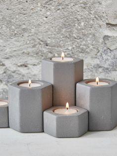 Hexagonal Tealight Holders - Concrete Grey