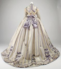Dress - Dress Designer: Depret (French) Date: Culture: French Medium: piña cloth, silk Dimensions: Length at CB (a): 13 in. cm) Length at CB (b): 61 in. cm) Waist (c): 25 in. cm) Credit Line: Gift of Miss Elizabeth R. 1800s Fashion, 19th Century Fashion, Victorian Fashion, Vintage Fashion, Victorian Era, Gothic Fashion, Victorian History, Victorian Dresses, Steampunk Fashion