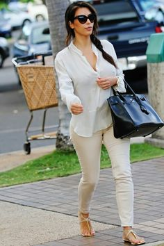 White & Cream Outfit with Black Bag