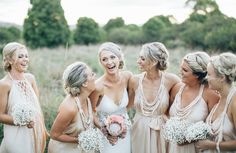 Dress: Nicole Miller | Bridesmaids: Lisa Brown | Hummingbird Style & Hire | Photographer: Figtree Pictures #modernvintage #nicolemiller #backless #whimsical #lisabrown