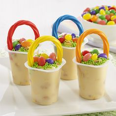 Lemon creme cookie pieces stirred in vanilla pudding for Easter pudding cups, then topped with jelly beans, sprinkles and a twist handle
