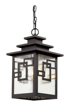 """Geo Tempo 16"""" Outdoor Pendant shown in Weathered Bronze by Trans Globe Lighting - 40184-WB"""