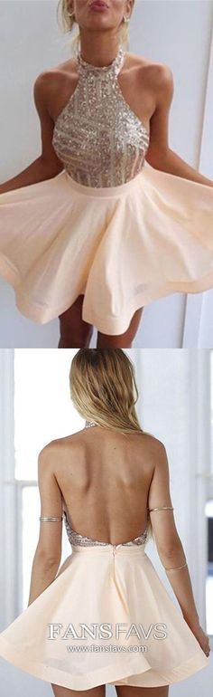 Cute A Line Halter Backless Sequined Peach Short Homecoming Dresses, Short Prom Dresses - Evening Dresses and Fashion Backless Homecoming Dresses, Cheap Short Prom Dresses, Hoco Dresses, Ball Dresses, Pretty Dresses, Sexy Dresses, Fashion Dresses, Women's Fashion, Dress Prom