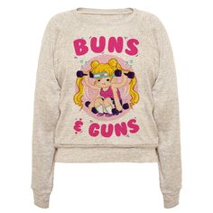 Buns & Guns Baseball Work out your buns and your guns with this Sailor Moon anime themed fitness design! Sweat our your magic girl out while you pump up for your girl gang!