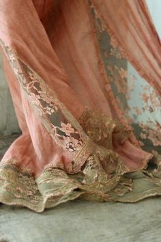 V i n t a g e tattered cotton and lace fabric remnent no.1