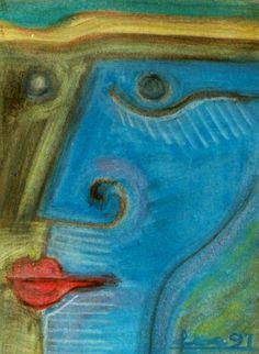 """Faces"" (1991) - Modern Art #painting by Petros Devolis - Oil pastel on paper 17,5 x 24 cm (6.89 x 9.45)   #oilpastel #painting #art #blue #green #face  www.about,me/devolisarts www.facebook.com/devolisarts www.twitter.com/devolisarts"