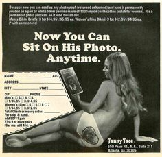 vintage advertising Now You Can Sit On His Photo Anytime