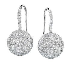 Diamond Pave Bead Earrings on Diamond French Wire 18K white gold