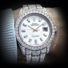 GOLDEN SUN JEWELRY: Rolex DateJust II w/Russian Cut Diamonds; w/Mother of Pearl Diamond dial.