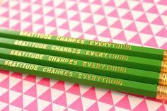 Gratitude Changes Everything Set of 4 Green Hex Pencils by DesignGem