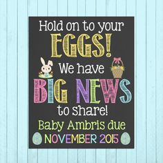 Easter Pregnancy Announcement Chalkboard Poster Printable // Easter Eggs // Pregnancy Reveal Photo Prop // Big News // Easter Bunny by PersonalizedChalk