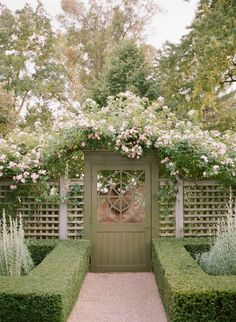 Hedges lead the eye to a beautiful garden gate and suggest the formal gardens… Formal Gardens, Outdoor Gardens, Garden Gates And Fencing, Fence Gate, Front Fence, Door Gate, Low Fence, Brick Fence, Pallet Fence