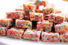 Fruity Pebbles rice crispy treats. Cool treat that could be made into balls with stick :)