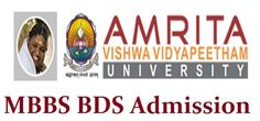Amrita MBBS BDS Admissions open for the academic year 2016 at Amrita Health Sciences Campus Online registration starts for MBBS/BDS from Wed March 02, 2016