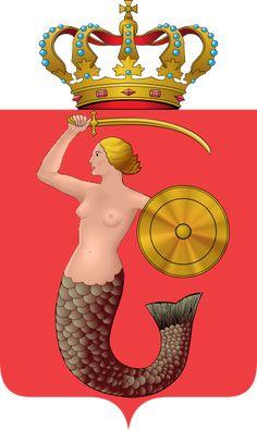 Coat of Arms - Warsaw - Poland Mermaid History, Water Nymphs, Mermaids And Mermen, World Cities, Merfolk, Red Army, Mythological Creatures, Mermaid Art, Mermaid Paintings