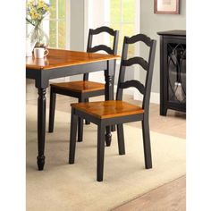 Buy Better Homes and Gardens Autumn Lane Ladder Back Dining Chairs, Set of 2, Black at Walmart.com - Free Shipping