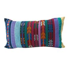 """Vintage recycled handmade indigenous Guatemalan textiles, canvas and velvet are combined and create a fusion of contemporary design. Pillow with over flowing personality. - 14"""" x 25"""" - Handmade/Guatem"""