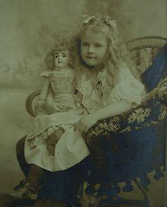 CABINET-PHOTO-OF-BEAUTIFUL-LITTLE-GIRL-WEARING-LOVELY-DRESS-LOVELY-CHINA-DOLL A girl with an antique doll  Tyttö ja antiikki nukke #antique #doll #dolls #toy #children #antiikki #nuket #nukke #vintage #photo #postcard
