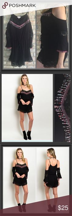 """❗️Last One❗️Boho Chic Cold Shoulder Lace Romper S Stunning Boho Chic cold shoulder romper featuring crochet lace trim, beaded neckline, tassel tie & peasant bell sleeves. The smocked style elastic waistband and soft gauze like rayon fabric make this gorgeous romper super comfortable. Length 33"""" Adjustable spaghetti straps. New from maker without tags Dresses Mini"""