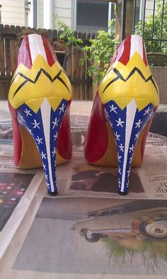 Wonder Woman size 9 high heels by BonnyKateCuriosities on Etsy, $100.00