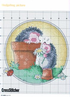 Happy Hedgehogs (Margaret Sherry) From Cross Stitcher N°137 August 2003 3 of 4