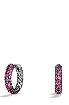 Petite Pavé Earrings with Pink Sapphires
