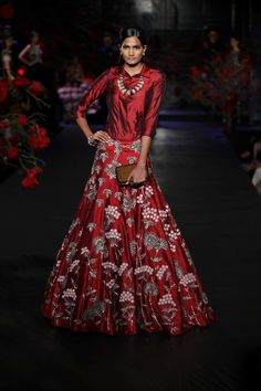 Light Lehengas - Crimson Red Lehenga with Silver and Grey Embroidery | WedMeGood #wedmegood #light #lehengas