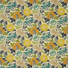 """""""Copacabana"""" is a striking design, with a tropical pattern of fruit and flowers printed on cotton panama with a graphic stencilled style. Available in four vibrant colourways."""