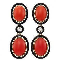 1920s Coral  Black Enamel Ear Pendants | From a unique collection of vintage drop earrings at https://www.1stdibs.com/jewelry/earrings/drop-earrings/