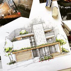 お昼休みに今度は自分流で描き描き #建築パース #外観パース #archisketcher #sketch_arq #sketch #artarchworks #copic #手描きパース #mastersketch