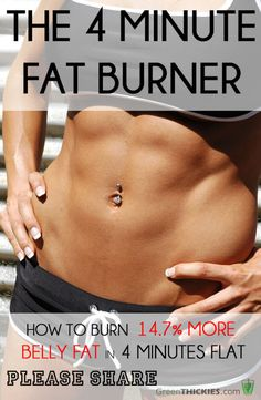 How to Eliminate Abdominal Fat in 2 Minutes - The 4 Minute Fat Burner - How To Burn Significantly More Belly Fat In Just 4 Minutes How to Eliminate Abdominal Fat in 2 Minutes - Belly Fat Burner Workout Belly Fat Burner Workout, Fat Workout, Workout Plans, Bodybuilding, Lose 50 Pounds, 10 Pounds, Weight Loss Smoothie Recipes, Burn Belly Fat Fast, Abdominal Fat