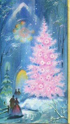So Pretty- pink Christmas tree on vintage greetings card