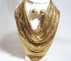 Vintage Whiting Davis Gold Mesh Jewelry Set by GretelsTreasures