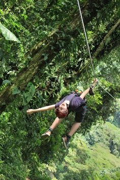 Hanging upside down from zipline in Costa Rica #Travel #Zipline #Costarica