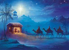 Vintage Greeting Cards, Vintage Christmas Cards, Christmas Nativity, Christmas Art, Nativity Painting, Jesus Artwork, Bible Stories For Kids, Jesus Painting, O Holy Night