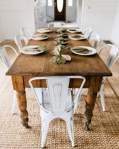 New Farmhouse dining room table and chairs. DIY farmhouse table and gray armchair with nail head details. A beautiful Neutral Modern Farmhouse Dining Room Read French Country Dining Room, Farmhouse Dining Room Table, Dining Room Furniture, Cottage Farmhouse, Farmhouse Ideas, Furniture Ideas, Dinning Chairs, Farmhouse Bench, Outdoor Farmhouse Table