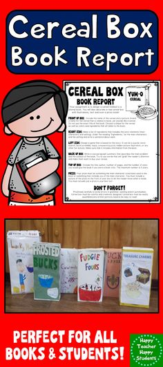 Cereal box book reports are fun and unique for students in 2nd - sample cereal box book report template
