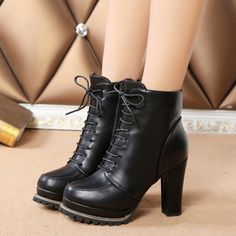 - Trendy lace stylish ankle heel boots for the modern woman - Great for any casual outing - Inner zipper for easy access - Comfortable breathable upper - Made from PU - 11 cm heel height - 3 cm platfo