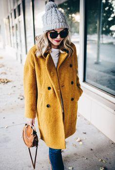 mustard yellow coat fall trends