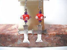 Cross Earrings, Silver Earrings, Vintage Earrings, Vintage Jewelry, Handmade Jewelry, Ear Jewelry, Cute Jewelry, Jewelry Accessories, Etsy Vintage