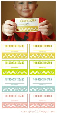 """""""Good deed cards"""" for kids. Punch holes for good deeds, and once they do 10 they get a treat. free printable! Great idea for kids."""