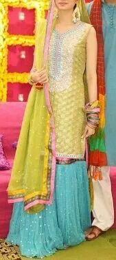 Samia Ahmed - a gharara outfit  (mehndi?)